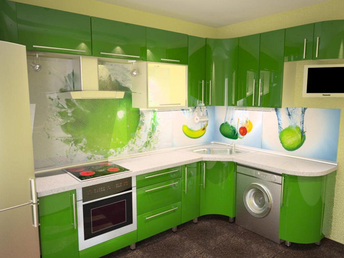 Зеленый цвет на маленькой кухне